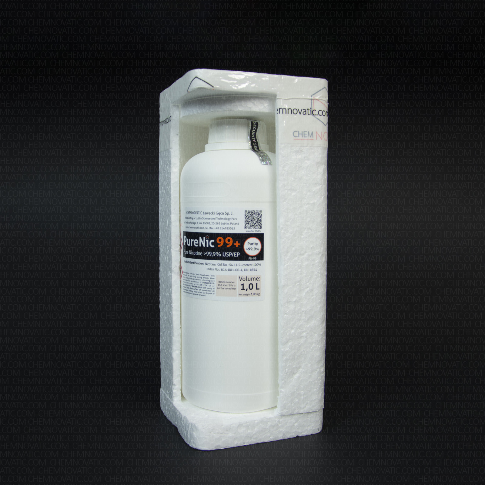 A cutout of complete packaging for 1 liter of PureNic 99+ pure nicotine showing the contents