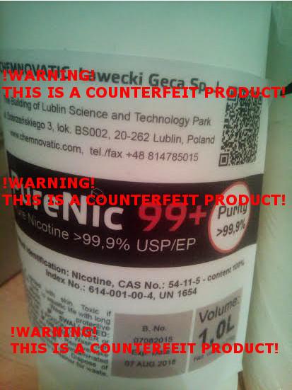 Counterfeit PureNic 99+ label.