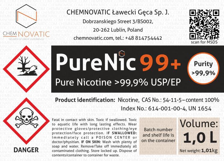 Original PureNic 99+ pure nicotine liquid label.