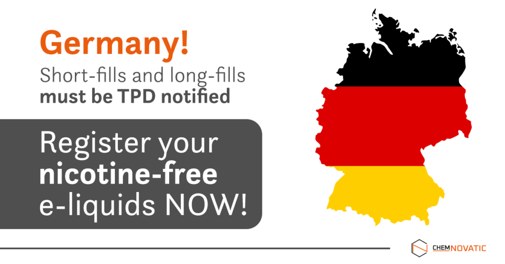 Non-nicotine e-liquids and e-cigarettes must be TPD notified in Germany