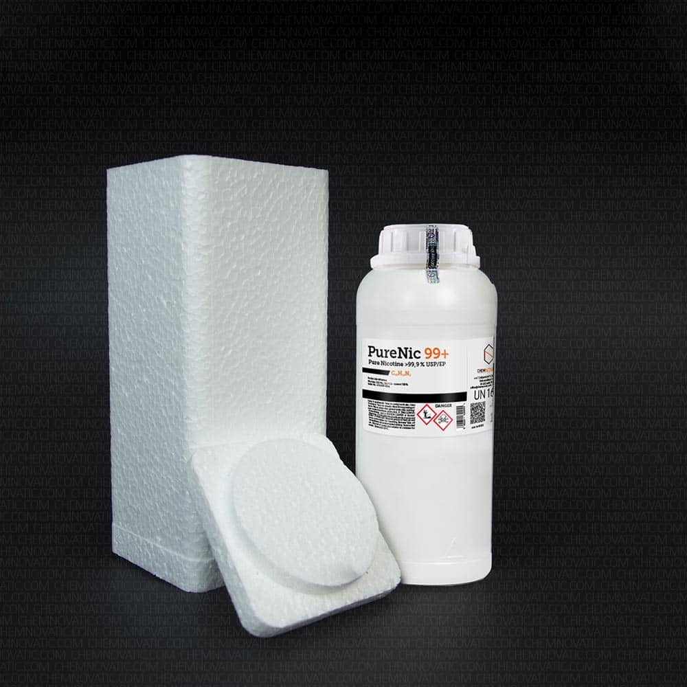 Complete original packaging for PureNic 99+ nicotine including the styrofoam casing.